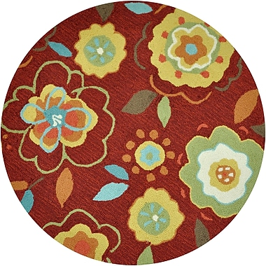 Loloi Summerton Life 100% Polyester 3' Dia Area Rug, Red/Yellow