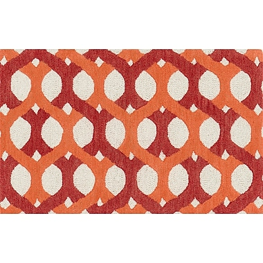 Loloi Weston 100% Wool 2' 3in. x 3' 9in. Rug, Red Orange