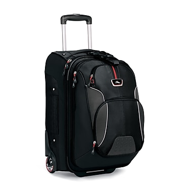 High Sierra AT605  Carry-On Wheeled Backpack W/Rem Daypack Black Red
