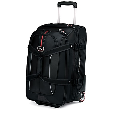 High Sierra AT656 Carry-On Expandable Wheeled Duffel W/ Backpack Straps Black Red