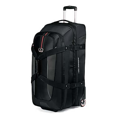 High Sierra AT659  32in. Expandable Wheeled Duffel W/ Backpack Straps Black Red