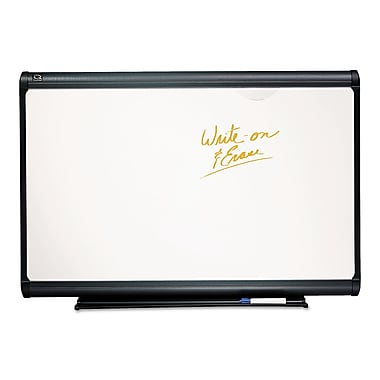 Quartet® Prestige Plus® Premium 4'(H) x 6'(W) Porcelain On Steel Whiteboard, Titanium Frame