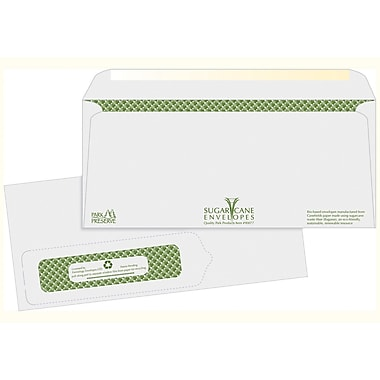 Quality Park Products® 4 1/8in. x 9 1/2in. White 24 lbs. Sugarcane Bagasse Window Envelopes, 500/Pack