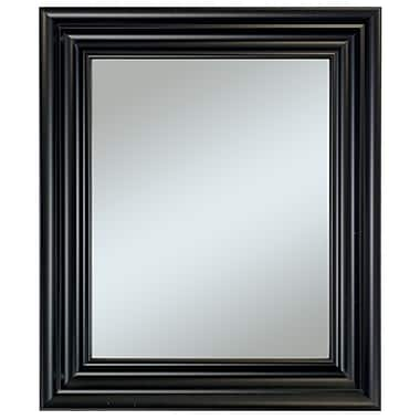 37in. x 31in. Beveled Carriage House Wall Mirror, Black