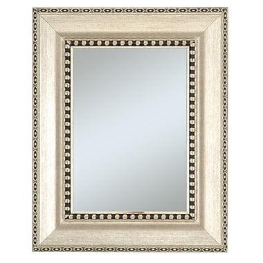 44in. x 32in. Beveled Chalet Large Molding Wall Mirror, Silver/Black