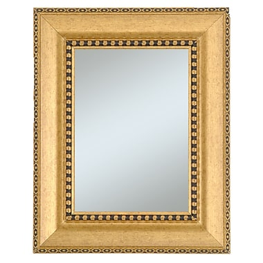 44in. x 32in. Chalet Large Molding Wall Mirror, Gold/Black