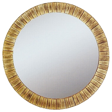 Round Lyone Wall Mirror, Gold, 34in.