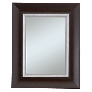44in. x 32in. Beveled Manford Wall Mirror, Dark Walnut/Silver