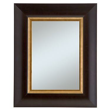 44in. x 32in. Manford Wall Mirror, Dark Walnut/Gold