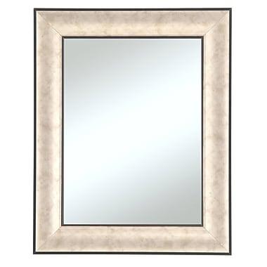 Beveled Silvertone Wall Mirror, Silver/Black, 35