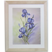 "38 3/4"" x 32"" Premier Blue Irises Wall Art, White Frame"