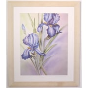 "38 3/4"" x 32"" Premier Large Blue Irises Wall Art, White Frame"