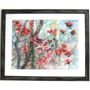 "32"" x 38 1/2"" Premier Cherry Tree in Bloom Wall Art, Gray"