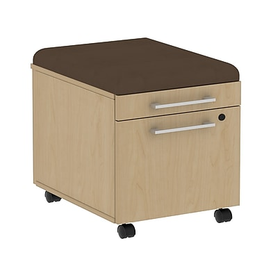 Bush Business 300 Series Mobile Pedestal with Cushion Kit, Natural Maple/Cocoa, Installed