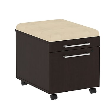 Bush Business 300 Series Mobile Pedestal with Cushion Kit, Mocha Cherry/Desert Bluff, Installed