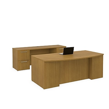 Bush Business 300 Series 72W x 36D Bow Front Double Pedestal Desk with 72W Credenza, Modern Cherry, Installed