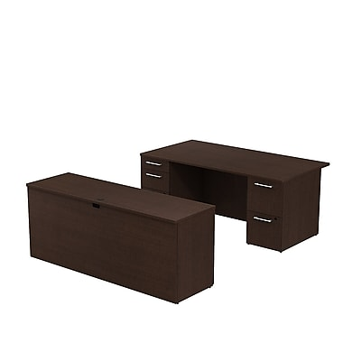 Bush 300 Series Double Pedestal Desk with Double Pedestal Credenza, Mocha Cherry