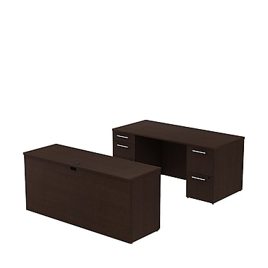 Bush Business 300 Series 66W x 30D Double Pedestal Desk with 66W Credenza, Mocha Cherry, Installed