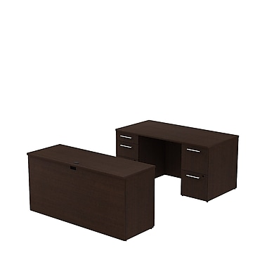 Bush Business 300 Series 60W x 30D Double Pedestal Desk with 60W Credenza, Mocha Cherry, Installed