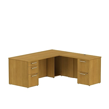 Bush Business 300 Series 72W x 30D Single Pedestal Desk in L-Configuration with 2 Drawer Pedestal, Modern Cherry, Installed