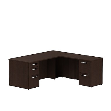 Bush 300 Series 72in.W x 30in.D L-Desk with 2-Dwr & 3-Dwr Peds, Mocha Cherry, Fully Assembled