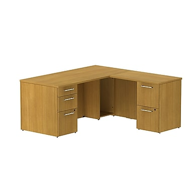 Bush Business 300 Series 66W x 30D Single Pedestal Desk in L-Configuration with 2 Drawer Pedestal, Modern Cherry