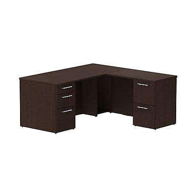 Bush 300 Series L-Desk with Pedestals, 65.6