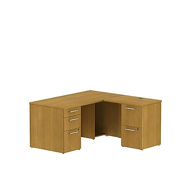 Bush 300 Series 60in.W x 30in.D Single Ped L-Desk with 2 Dwr Ped, Modern Cherry