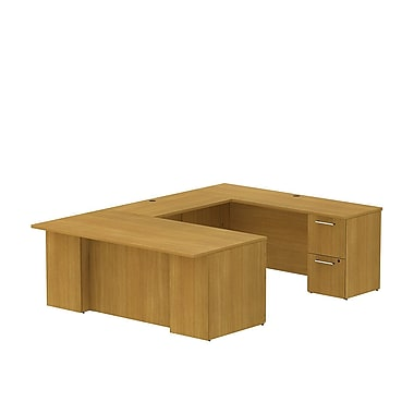 Bush 300 Series 72in.W x 36in.D U-Desk with 2 and 3 Dwr Peds, Modern Cherry, Installed