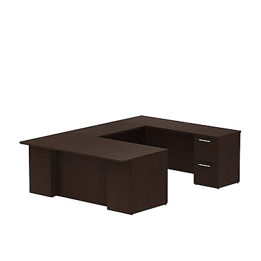 Bush – Bureau en U avec caissons de la collection Série 300, 71,1 x 99,5 x 29,1 po, cerisier moka