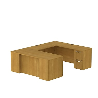 Bush Business 300 Series 72W x 30D Desk in U-Configuration with 2 and 3 Drawer Pedestals, Modern Cherry, Installed