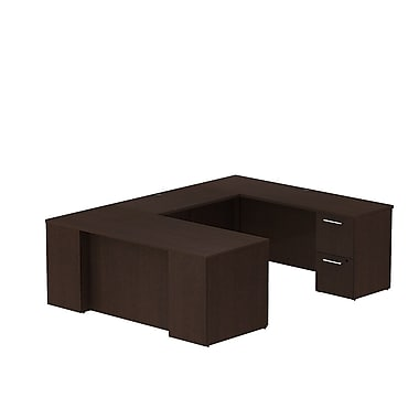 Bush – Bureau en U avec caissons de la collection Série 300, 71,1 x 93 x 29,1 po, cerisier moka