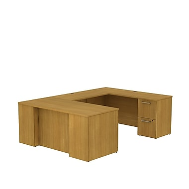 Bush Business 300 Series 66W x 30D Desk in U-Configuration with 2 and 3 Drawer Pedestals, Modern Cherry, Installed
