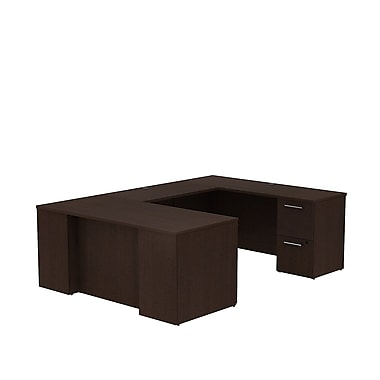 Bush – Bureau en U avec caissons de la collection Série 300, 65,6 x 93 x 29,1 po, cerisier moka