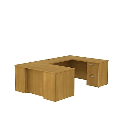 Bush Business 300 Series 60W x 30D Desk in U-Configuration with 2 and 3 Drawer Pedestals, Modern Cherry, Installed
