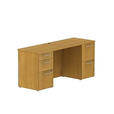 Bush Business 300 Series 66W x 22D Double Pedestal Desk, Modern Cherry