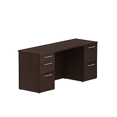 Bush 300 Series Double Pedestal Credenza Desk, 65.6