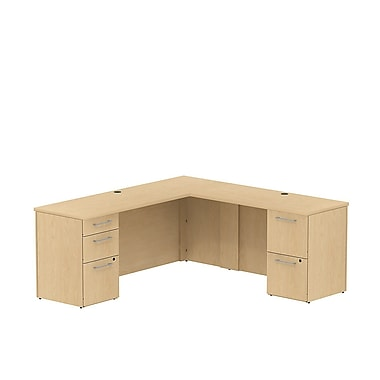 Bush 300 Series Credenza L-Desk with Pedestals, 71.1