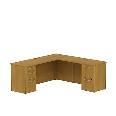 Bush Business 300 Series 72W x 22D Single Pedestal Desk in L-Configuration with 3 Drawer Pedestal, Modern Cherry, Installed