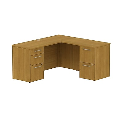 Bush 300 Series L-Shaped Credenza Desk with Storage, Modern Cherry