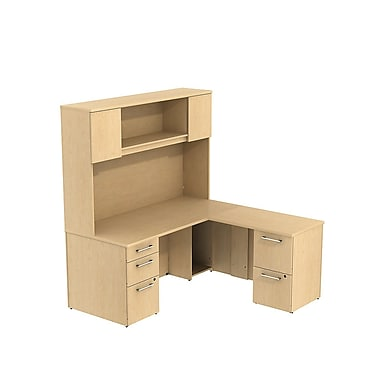 "Bush 300 Series L Desk with Storage & 66"" H Tall Hutch"