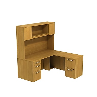 Bush 300 Series L-Desk with Storage & 66