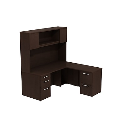 Bush Business Furniture Emerge 66W x 30D L Shaped Desk with Hutch and 2 Pedestals Installed, Mocha Cherry (300S040MRFA)