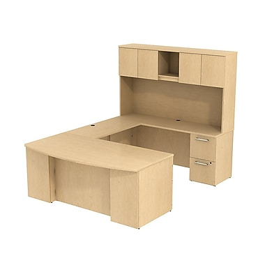 Bush Business 300 Series 72W x 36D Bow Front Desk in U-Configuration with Pedestals and Hutch, Natural Maple, Installed