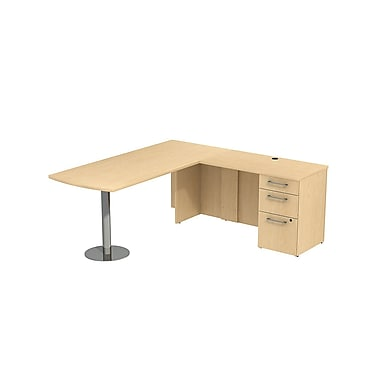 Bush 300 Series Peninsula Desk in L-Configuration with Pedestal, Natural Maple