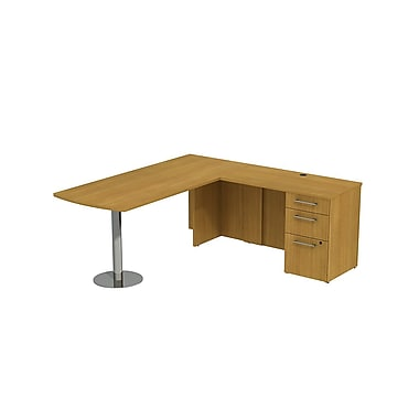 Bush 300 Series Peninsula Desk in L-Configuration with Pedestal, Modern Cherry
