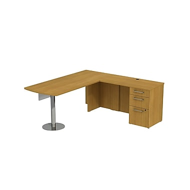 Bush Business 300 Series 72W x 30D Peninsula Desk in L-Configuration with Modesty Panel and Pedestal, Modern Cherry, Installed