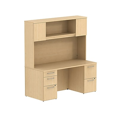 Bush Business 300 Series 66W x 22D Double Pedestal Desk with 66H Hutch Storage with Doors, Natural Maple, Installed