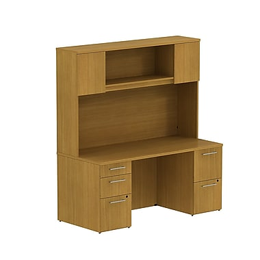 Bush Business 300 Series 66W x 22D Double Pedestal Desk with 66H Hutch Storage with Doors, Modern Cherry