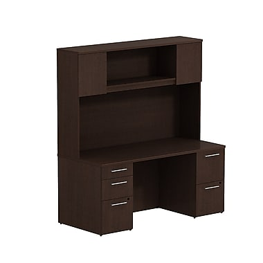 Bush 300 Series 66in.W x 30in.D Double Pedestal Desk with 66in.H Tall Hutch, Mocha Cherry